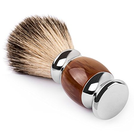 QSHAVE 100% Best Original Pure Badger Hair Shaving Brush Handmade. Faux Agate Handle. Perfect for Wet Shave, Safety Razor, Double Edge Razor - image 1 de 4