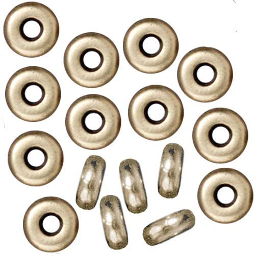 Brass Oxide Finish Lead-Free Pewter Disk Heishi Spacer Beads 4mm (50)
