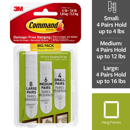 Command Ship - Command Assorted Picture Hanging Strips, Big Pack, 8 Sets Large, 6 Sets Medium, 4 Sets Small/Pack