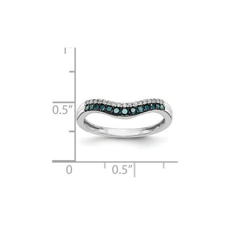 1/5 Carat (ctw) Blue and White Diamond Ring in 14K White Gold - image 3 de 5