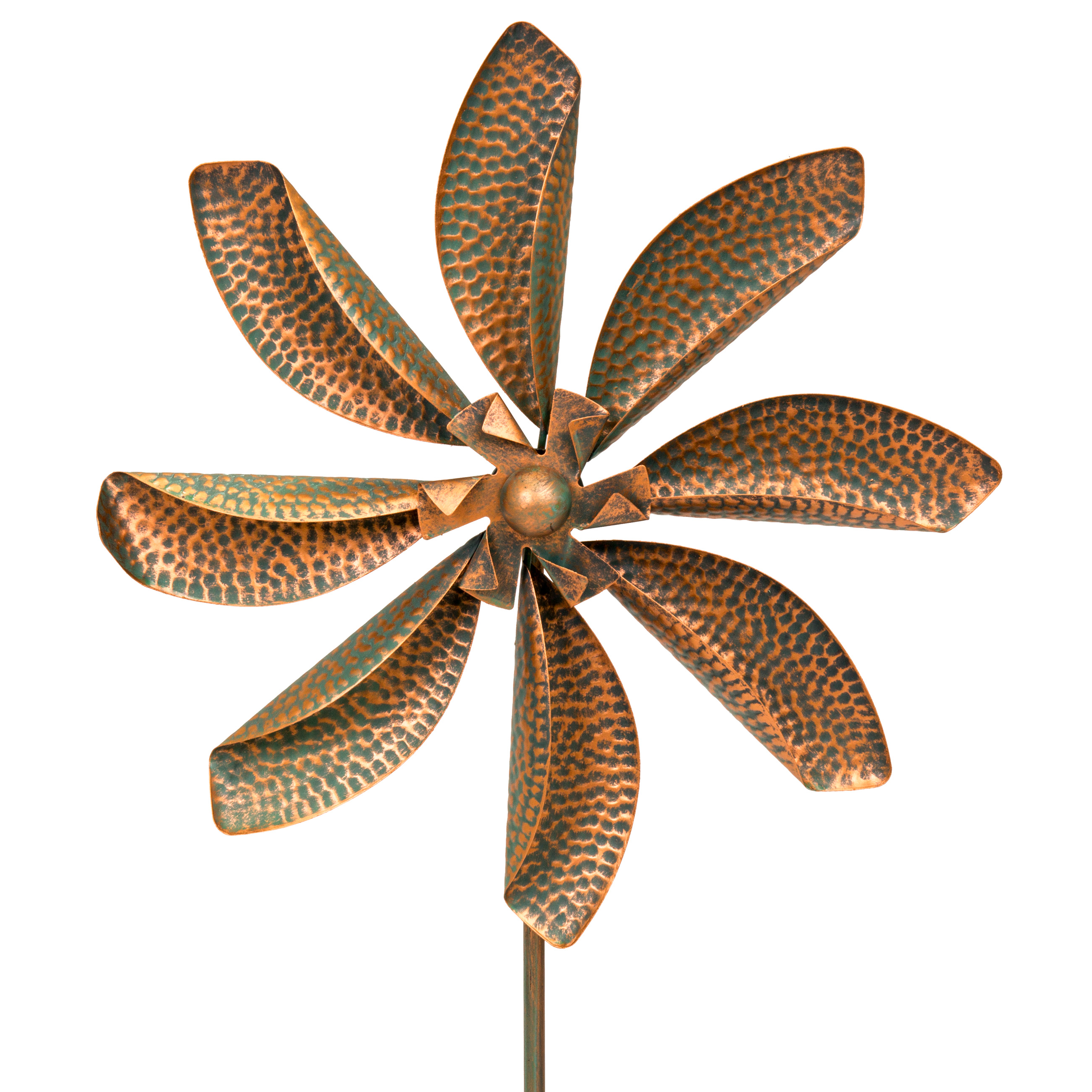 "Best Choice Products Flower Wind Spinner Forked Stake  63"" High x 20"" Wide, Bronze"