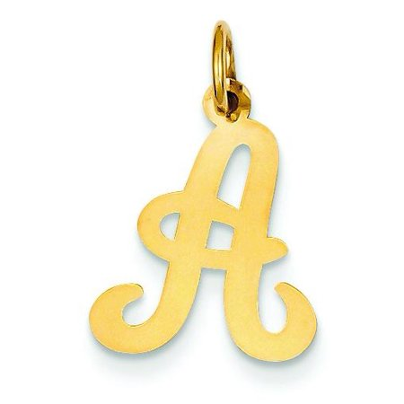 14K Gold Polished Fancy Initial Letter A Charm Pendant ()