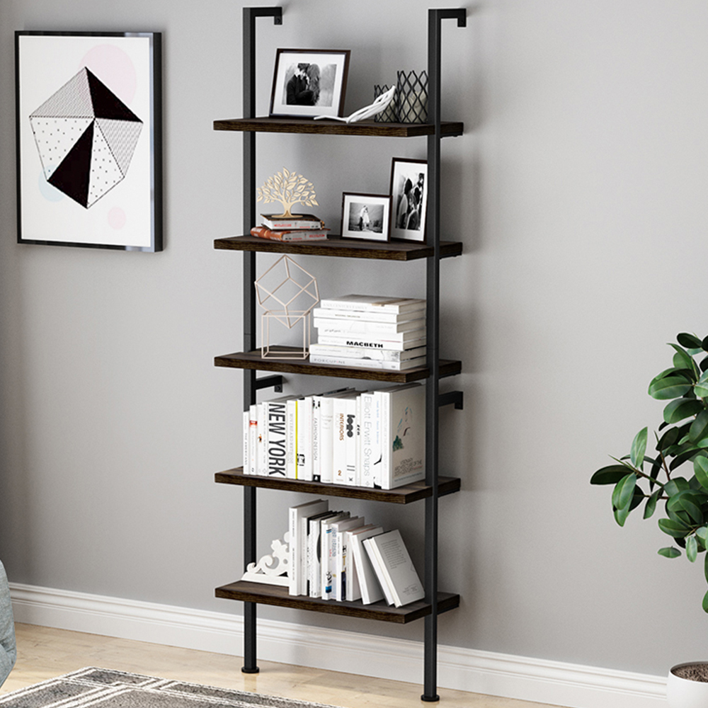 Open Bookshelves And Bookcases 5 Shelf Ladder Bookcase Modern Metal And Wood Bookshelf