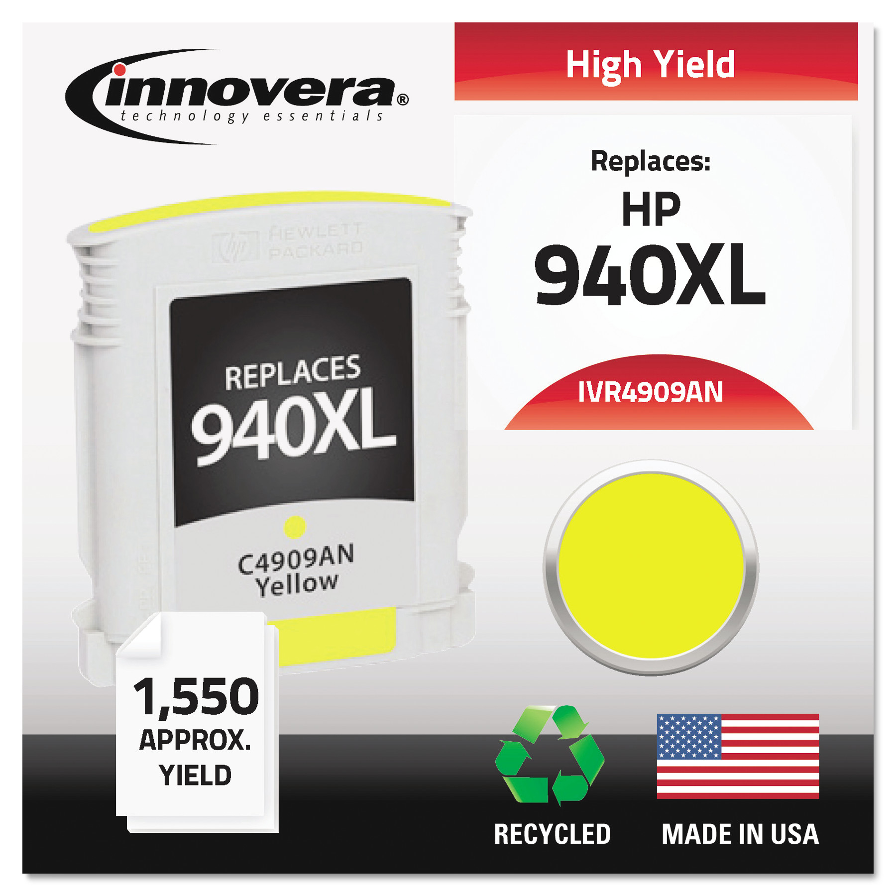 Innovera Remanufactured C4909AN (940XL) High-Yield Ink, Y...