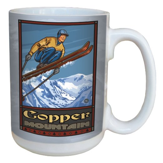 TreeFree Greetings 79359 Copper Mountain Colorado Ski Jump by Paul A. Lanquist Ceramic Mug with Full