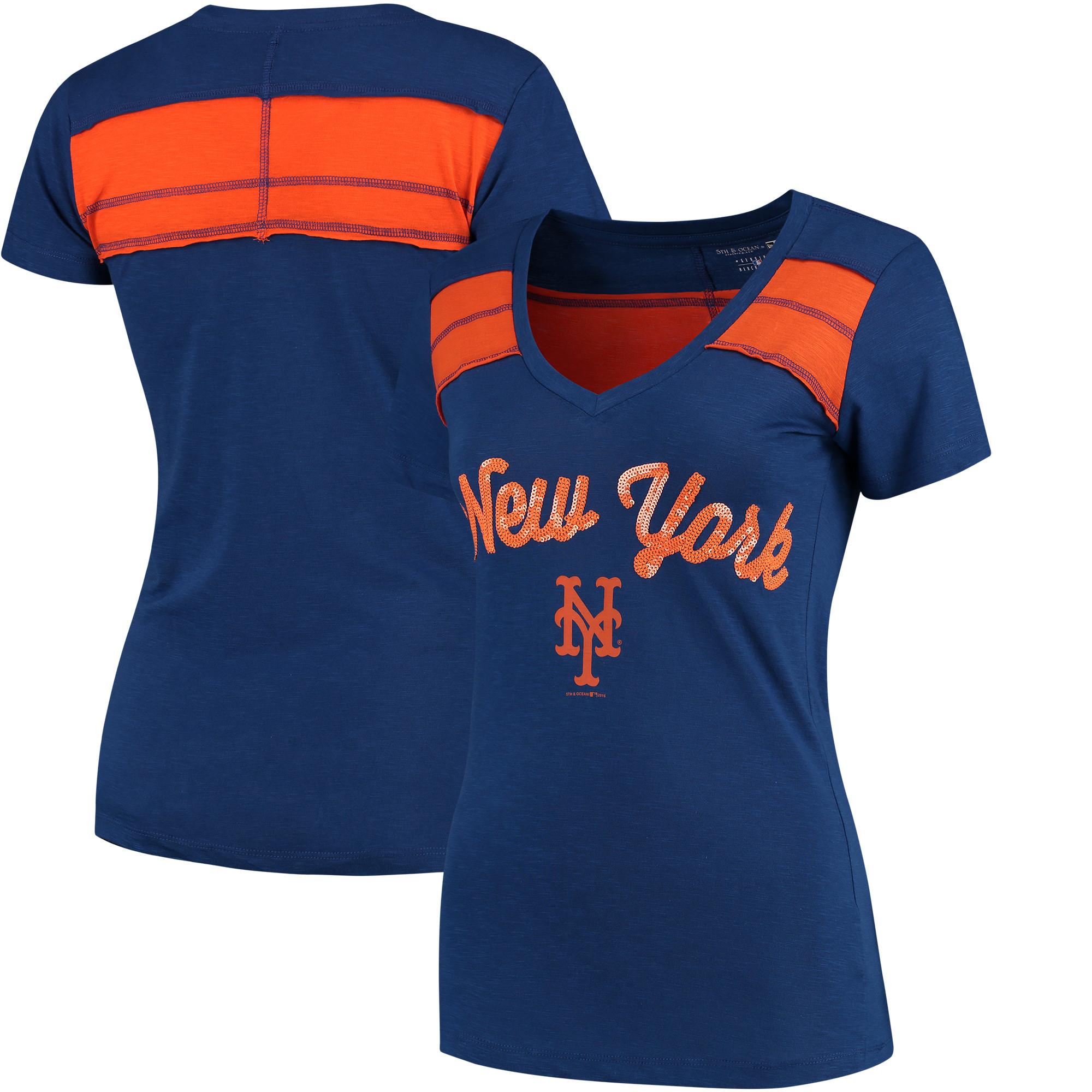 New York Mets 5th & Ocean by New Era Women's MLB Slub V-Neck With Contrast Inserts T-Shirt - Heathered Royal