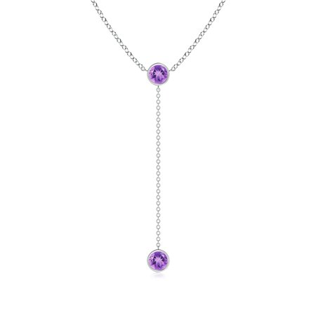 Valentine Jewelry Gift - Bezel-Set Round Amethyst Lariat Style Necklace in 14K White Gold (5mm Amethyst) - SP0737AM-WG-A-5