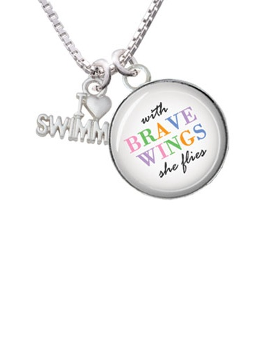 """I Heart Swimming Brave Wings Glass Dome Necklace, 18""""+2"""" by Delight and Co."""