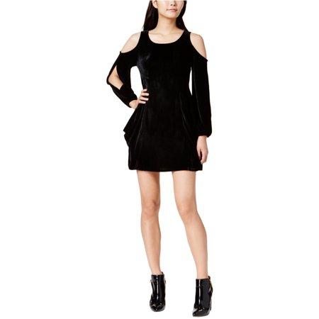 KENSIE Womens Black Cold Shoulder  Velvet Long Sleeve Scoop Neck Mini A-Line Cocktail Dress  Size: S Stretch Velvet Long A-line