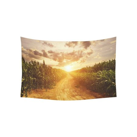 PHFZK Landscape Wall Art Home Decor, Skyline and Corn Field Harvest Tapestry Wall Hanging 60 X 40 Inches