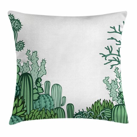Cactus Decor Throw Pillow Cushion Cover, Arizona Desert Themed Doodle Cactus Staghorn Buckhorn Ocotillo, Decorative Square Accent Pillow Case, 18 X 18 Inches, Green Light Green Seafoam, by Ambesonne - Desert Theme
