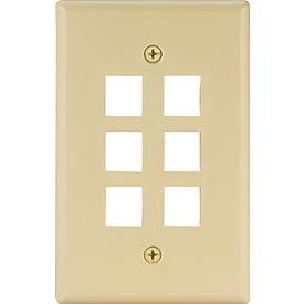 Cooper Wiring Devices 5566V-MSP 6 Port Flush Modular Wallplate, Ivory ()