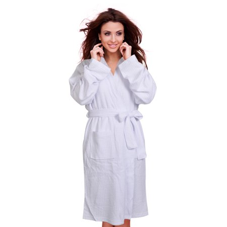 Cece Womens Waffle Robe Spa Bathrobe Lightweight Knee Length Hotel