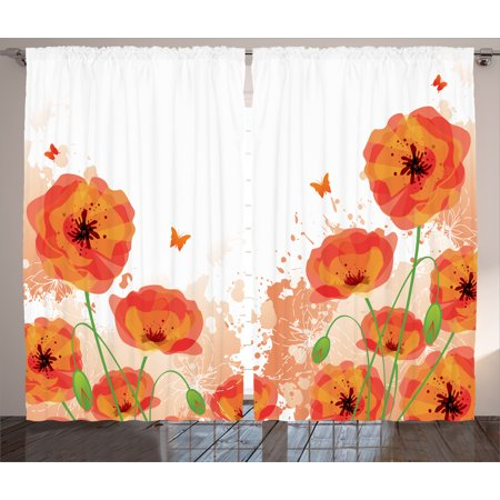 Flower Curtains 2 Panels Set, Digital Watercolors Design of Poppy Authentic Classic Botany Bouquet Patterns Nouveau Print, Living Room Bedroom Decor, Red White, by Ambesonne - Nouveau Lily Window Windows