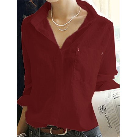 4f50bd668e8f Esho - Esho Women's V Neck Long Sleeve OL Shirts Blouse Casual Cotton Linen  Tops - Walmart.com
