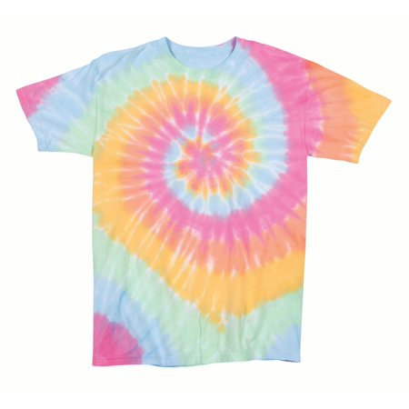 Rainbow T-shirt Tie (Rainbow Swirly Multi-Spiral Unisex Adult Tie Dye T-Shirt Tee )