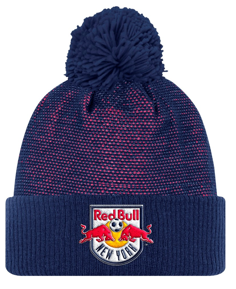 New York Red Bulls Adidas MLS 2017 Authentic Cuffed Knit Hat with Pom by Adidas