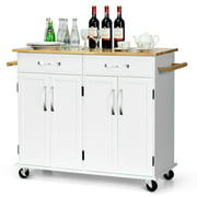 Costway Kitchen Trolley Island Utility Cart Wood Top Rolling Storage Cabinet Drawers