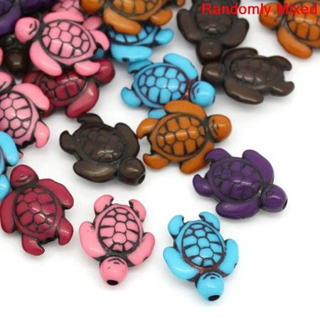 90 Turtle, Loose Beads, Mixed Acrylic, Loose Beads, About 18mm with Hole - About 70 Beads