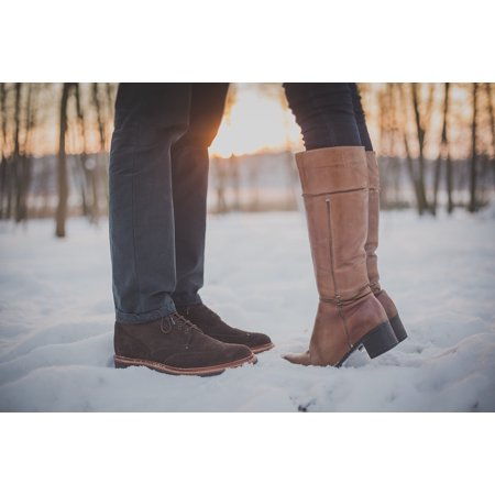 Canvas Print Sunset Feet Snow Man Kissing Couple Boots Stretched Canvas 10 x 14