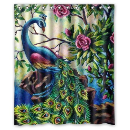HelloDecor Artistics Graceful Peacock Shower Curtain Polyester Fabric Bathroom Decorative Size 60x72 Inches