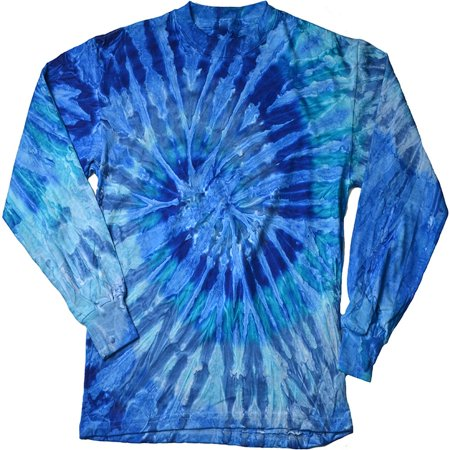 DARESAY Tie Dye Style Long Sleeve T-Shirt Men Women - Fun, Multi Color Tops (Man Classic Tie Dye)