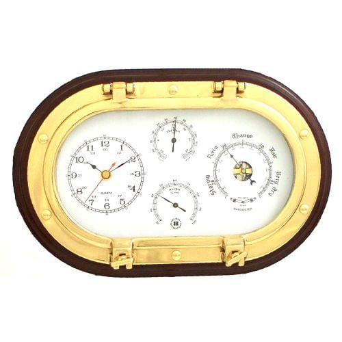 Brass Clock, Barometer, Therm & Hygrometer On Mahogany by Bey Berk