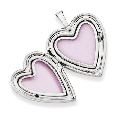 14K White Gold 20mm White Gold Enamel Flowers Grandma Heart Locket - image 1 de 3
