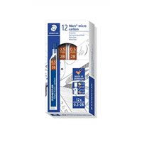 staedtler micro mars carbon mechanical pencil leads, 0.5 mm, 2b, 60 mm x 12 (250 05 2b)