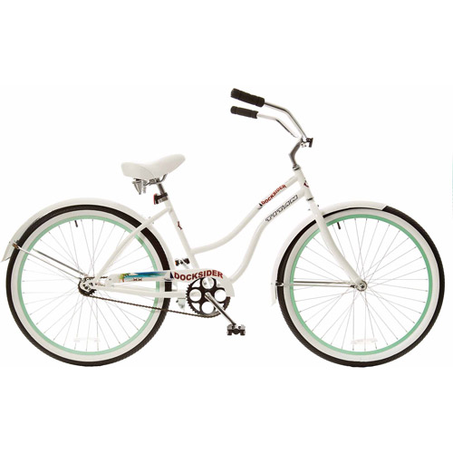 "26"" Titan Docksider Deluxe Women's Beach Cruiser Bike, White/Mint Green"