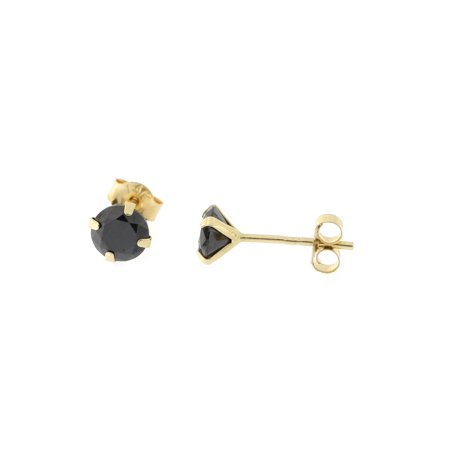 14k Yellow Or White Gold Round Black Cubic Zirconia Earrings