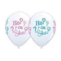 He or She Gender Reveal Baby Shower 11 Inch Latex Balloons (10 Pack)(10) 11 He or She Printed Latex Balloons as pictured. By Qualatex