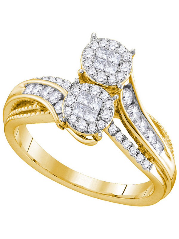 14kt Yellow Gold Womens Princess Round Diamond Soleil Bypass Bridal Wedding Engagement Ring 1 2 Cttw by GND