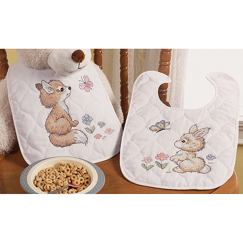 "Our Little Blessing Bib Pair Stamped Cross Stitch Kit, 7"" x 6-1/2"" Set Of 2"