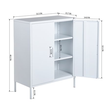 Furniture R Metal Storage Cabinet,Double Door,3-Tiers,Simple Elegant File locker Console Stand for Living Room Bedroom(White) - image 3 of 8