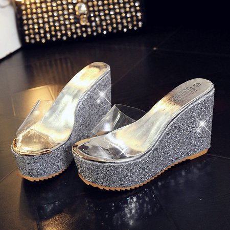 - 2018 High Fashion Womens Clear Peep Toe Sequins Wedge High Heels Platform Shoes Slippers Silver