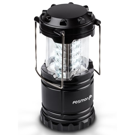 Fosmon LED Lantern, Portable Outdoor LED Collapsible Camping Lantern ,Water Resistant with 3x AA Batteries - Black