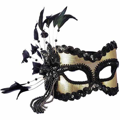 Black and Gold Carnival Mask Adult Halloween Accessory