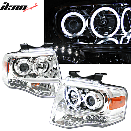 Ccfl Amber Projector Headlights (Fits 07-09 Ford Expedition CCFL Halo Projector Headlight Lamp Chrome Clear Amber )