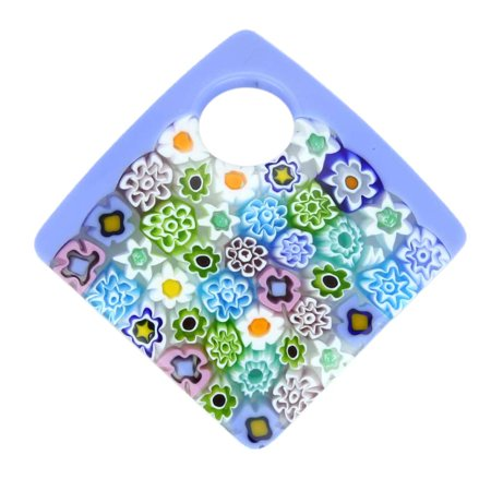 GlassOfVenice Murano Glass Curved Square Millefiori Pendant - (Curved Murano Glass)