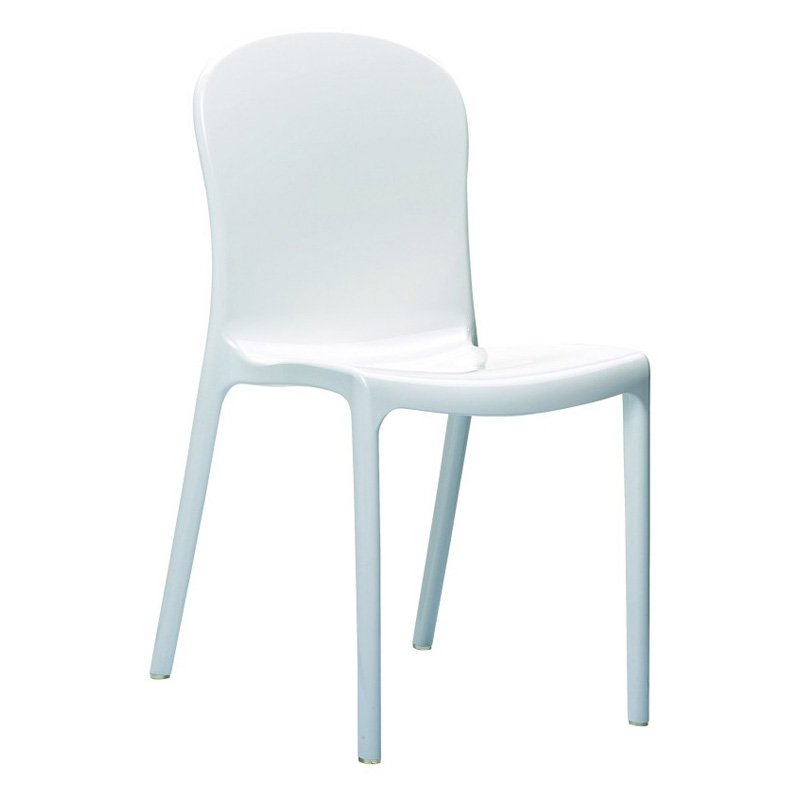 Compamia ISP052-GWHI Crystal Polycarbonate Modern Dining Chair - Glossy White - Set of 2