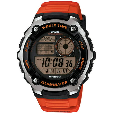 Men's World Time Watch, Orange Resin - Orange Face Watch