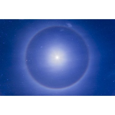 Around Crystal - An ice crystal halo around the first quarter moon Poster Print