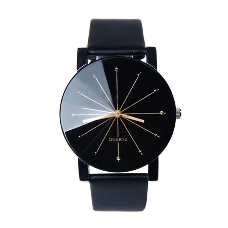Women Men Convex Quartz Dial Wristwatch Imitation Leather Band Round Case Wrist - Dial Leather Wrist Watch
