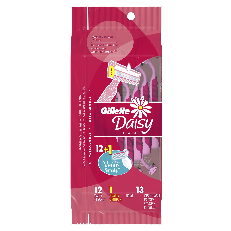 Gillette Daisy Classic Disposable Women's Razor, 12 Count + 1 Venus Simply3 Disposable Razor