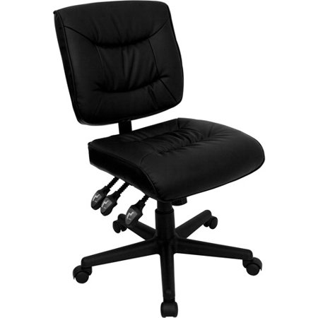 Flash Furniture Leather Desk Chair Black