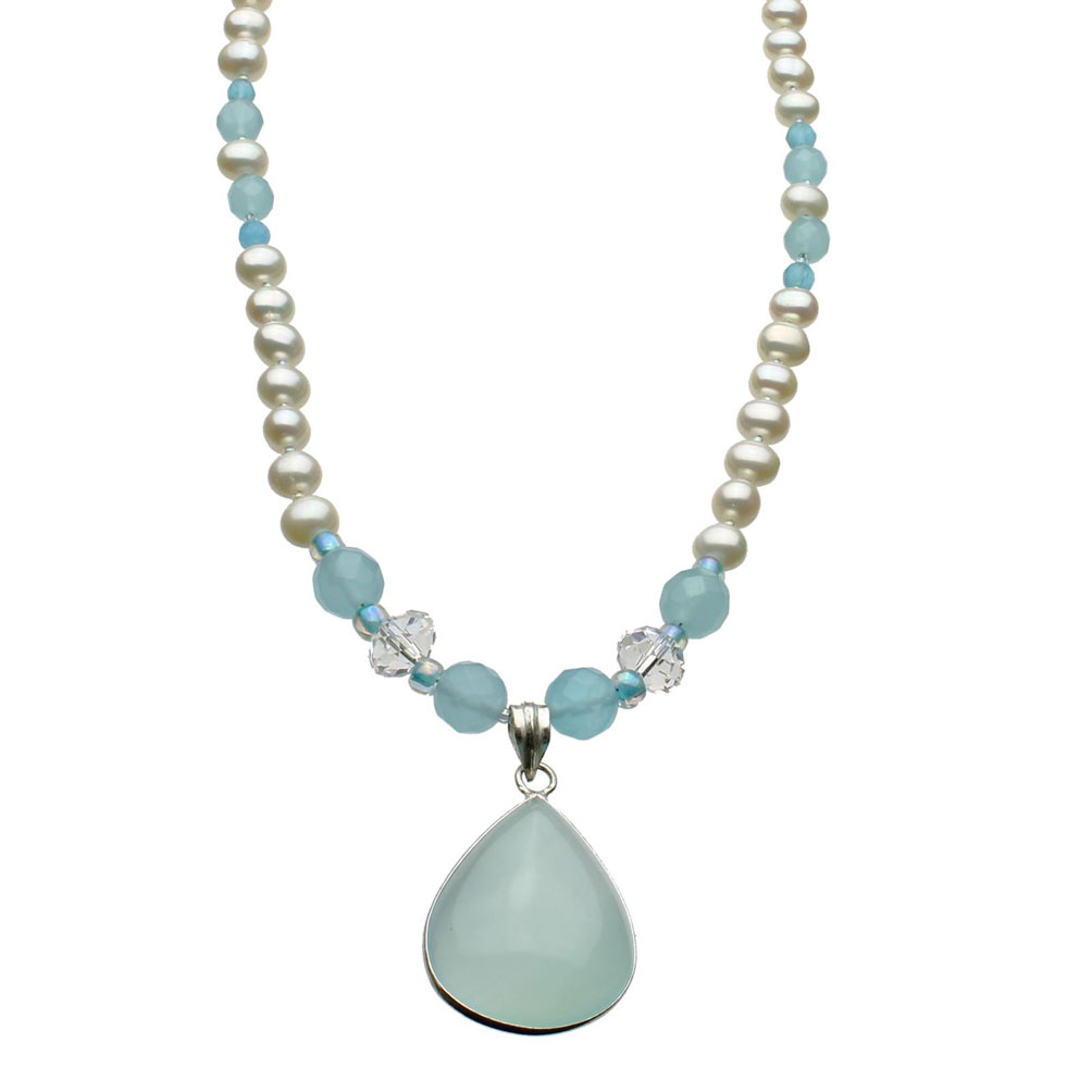 Blue Chalcedony Teardrop Sterling Silver Pendant�Freshwater Cultured Pearl Necklace by