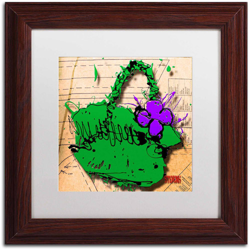 "Trademark Fine Art ""Flower Purse Purple on Green"" Canvas Art by Roderick Stevens, White Matte, Wood Frame"
