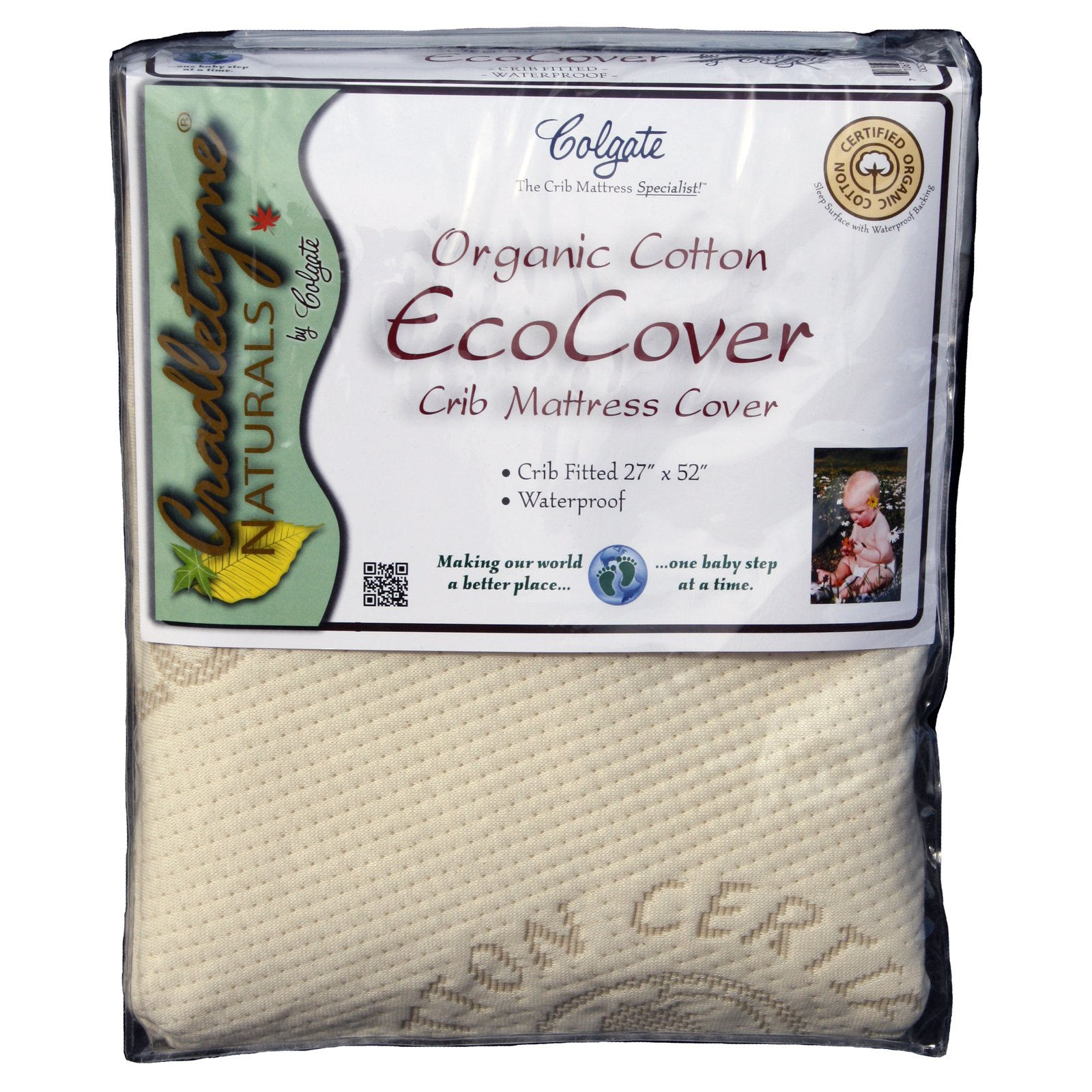 Colgate Organic Cotton Crib Fitted Mattress Cover - Ecru
