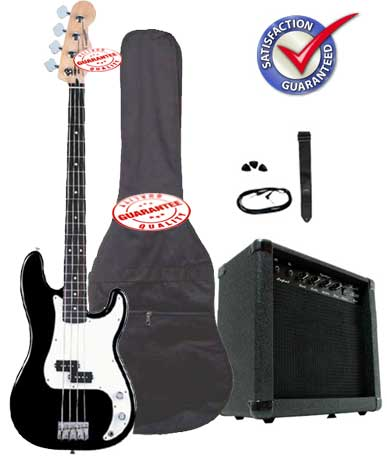 Electric Bass Guitar Pack with 20 Watts Amplifier, Gig Bag, Strap, and Cable, Black by D'Luca